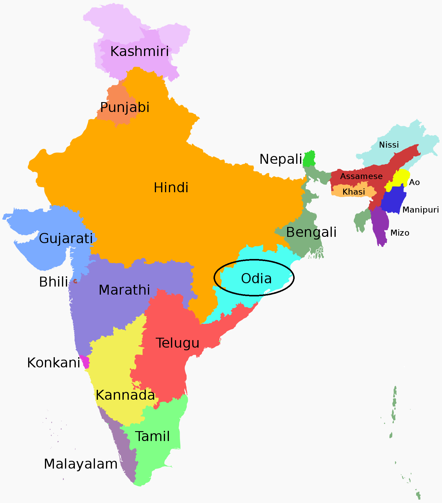 oriya language distribution in India